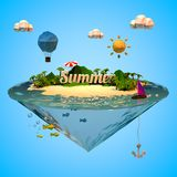 Summer holiday with low poly style Royalty Free Stock Photos
