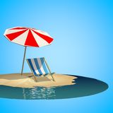 Summer holiday with low poly style Royalty Free Stock Photography