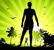 Summer holiday, man and beautiful girl silhouette Stock Photo