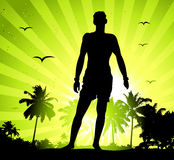 Summer holiday, man silhouette on sunset Stock Photos