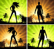 Summer holiday, man and woman on tropical island, Stock Images