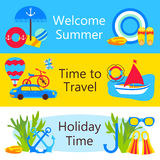 Summer holiday objects colorful web banners set. Vector illustration of travel time horizontal templates Royalty Free Stock Photography