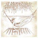 Summer holiday - original hand drawn illustration. Stock Photo