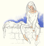 Summer holiday - original hand drawn illustration. Royalty Free Stock Image
