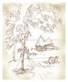Summer holiday - original hand drawn illustration. Royalty Free Stock Photos