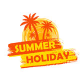 Summer holiday with palms and sun sign, yellow and orange drawn Royalty Free Stock Photography