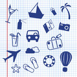 Summer holiday on paper. Summer holiday doodles on paper Royalty Free Illustration