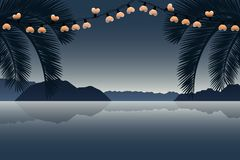 Summer holiday paradise palm beach with heart fairy light stock illustration