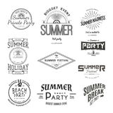 Summer holiday party festival, logos badges Stickers Royalty Free Stock Photos