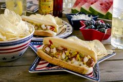 Summer holiday picnic with hot dogs and chips Stock Photos