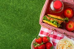 Summer holiday, Picnic in the park on the grass. Basket, tablecloth, healthy food, healthy food and accessories, top view, Flat. Lay.The concept of a picnic stock image
