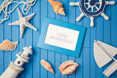 Summer holiday picture frame mock up template. View from above. Stock Photos