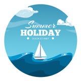Summer holiday postcard design. Sea illustration with boat vector illustration