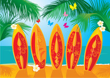 Summer Holiday Postcard - surf boards. With hand drawn text Aloha Royalty Free Stock Photography