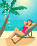 Summer holiday. Poster, print or banner template vector illustration Royalty Free Stock Photography