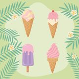 Summer holiday poster with set ice creams. Vector illustration design stock illustration