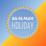 Summer holiday, retro label, flat design. Text summer holiday and sun in yellow and blue, abstract summery retro label, flat design Royalty Free Stock Photos