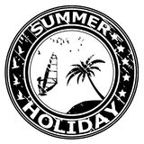 Summer holiday rubber stamp with palm tree and surfer. Silhouette Stock Image