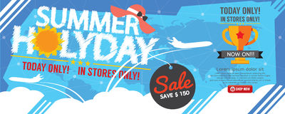 Summer Holiday Sale Banner 1500x600 Pixel. Royalty Free Stock Image