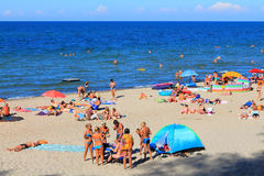 Summer holiday on the sandy coast of the Baltic Sea Stock Photos