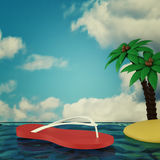 Summer holiday at the sea. 3d render Stock Photo