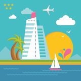 Summer Holiday on the Sea - Illustration in Flat Design Style Royalty Free Stock Image