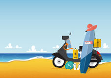 Summer holiday and seascape with scooter and travel icon set in flat design.Vector. Illustration Stock Photos