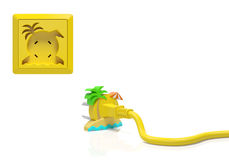 Summer holiday season or summertime vacation and travel (creative concept). Electric plug and power socket as tropical island with sun, sea, palm, parasol as Royalty Free Stock Images