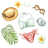 Watercolor hand painted beach summertime set. Women swimwear, outfit, straw hat, sunglasses, tropical plants and leaves, isolated royalty free illustration