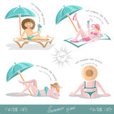 Summer holiday set people under umbrella in the beach Stock Photo