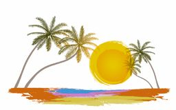Summer holiday with sightseeing on the beach. Vector Illustration royalty free illustration