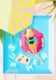 Summer Holiday and Summer Camp poster, background backdrop, print Stock Photo