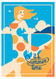 Summer Holiday and Summer Camp poster. Royalty Free Stock Photo