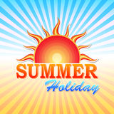 Summer holiday with sun and rays Royalty Free Stock Image