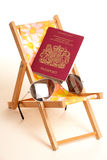 Summer holiday with sunglasses and passport Stock Images