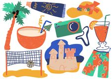 Summer Holiday Symbols Set, Cocktail, Shorts, Camera, Sunscreen, Sand Castle, Straw Hat, Beach Volleyball Vector vector illustration