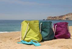 Summer holiday � three vivid bags on the seacoast Stock Image