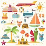 Summer holiday, tourism and vacation flat icons. Vector illustration of summer vacation accessories, flat icon set Royalty Free Stock Photos