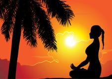 Summer holiday, Training yoga girl - vector illustration Royalty Free Stock Photo