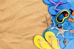 Summer, Holiday, Travel. Summer Holiday Travel Beach Vacations Flip-flop Travel Destinations Royalty Free Stock Photos