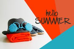 Summer holiday travel concept.Hipster Beach items for a day at t Stock Images