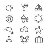 Summer holiday, tropical beach thin line vector icons Stock Photography