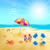 Summer holiday tropical sand beach flip flops life starfish Royalty Free Stock Photo