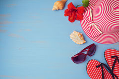 Summer holiday vacation concept  with beach items. View from above. Royalty Free Stock Images