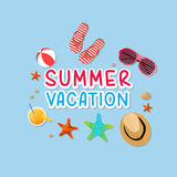 Summer holiday vacation concept, isolated objects cute  illustration Stock Images