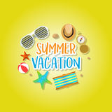 Summer holiday vacation concept, isolated objects cute  illustration Royalty Free Stock Photo
