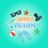 Summer holiday vacation concept, isolated objects cute  illustration Stock Photos