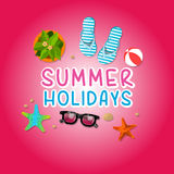 Summer holiday vacation concept, isolated objects cute  illustration Royalty Free Stock Photography