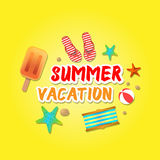 Summer holiday vacation concept, isolated objects cute  illustration Royalty Free Stock Photos