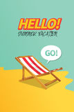 Summer holiday vacation concept, Sunbed and Calligraphy  flat illustration Royalty Free Stock Photos
